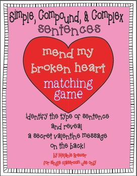 Simple, Compound, Complex Sentences! Valentine Hands-On Matching Game!