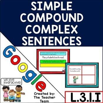 Simple Compound Complex Sentences Practice for Google Drive L.3.1.I