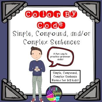 Types of Sentences: Simple, Compound, Complex Sentences Grammar Color By Code!