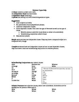 Simple, Compound, Complex, and Compound-Complex Sentences Help Sheet