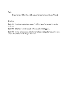 Simple, Compound, Complex, and Compound-Complex Sentences (Review / Assess)