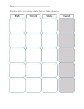 Simple Compound Complex and Fragment Sentence Sort