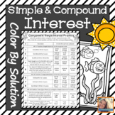 Simple and Compound Interest Worksheet Color by Solution