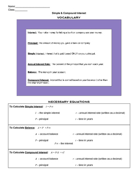 Simple & Compound Interest Guided Notes