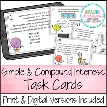 Simple & Compound Interest Task Cards