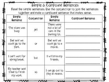 Simple & Compound Sentence Activities