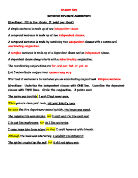 Simple, Compound and Complex Sentence Assessment