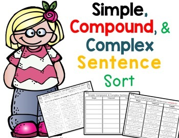 Simple, Compound, and Complex Sentence Sort