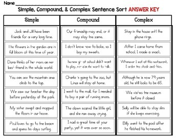 simple compound and complex sentence sort by rock paper scissors