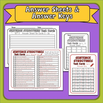 Sentence Structure  Simple Compound and Complex Sentences Task Cards