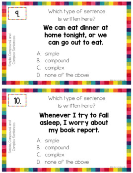 Simple, Compound, and Complex Sentences Anchor Charts and Task Cards