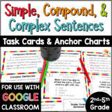 Simple, Compound, and Complex Sentences Task Cards and Anchor Charts