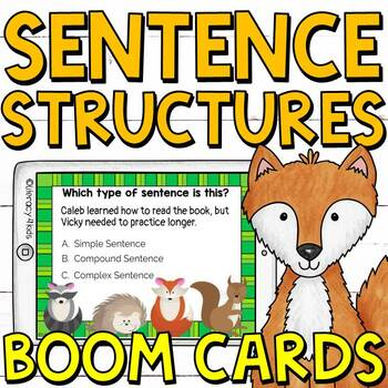 Simple, Compound, and Complex Sentences Boom Cards (digital task cards)