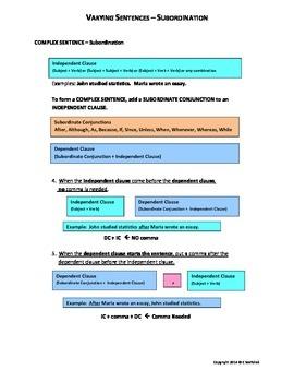 Simple, Compound, and Complex Sentences - Color Guidelines