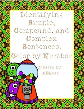 Simple, Compound, and Complex Sentences Color by Number FREEBIE