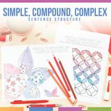 Color by Grammar: Sentence Structure Simple, Compound, & Complex Coloring Sheets