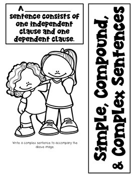 Simple, Compound, and Complex Sentences Worksheet & Craftivity