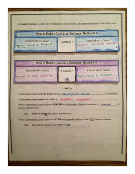 Simple, Compound, and Complex Sentences Foldable Unit with Tests
