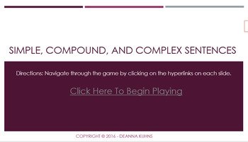 Simple, Compound, and Complex Sentences Game