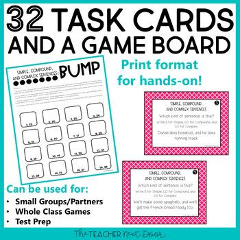 Simple, Compound, and Complex Sentences Game Center Activity
