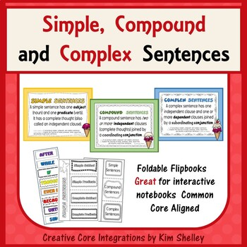 Simple, Compound and Complex Sentences-Interactive Foldable FlipBooks