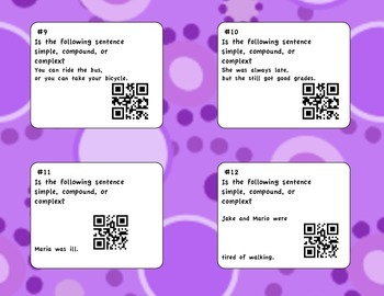 Simple, Compound, and Complex Sentences QR Task Cards