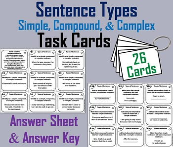 Simple, Compound, and Complex Sentences Task Cards 4th 5th 6th 7th Grade