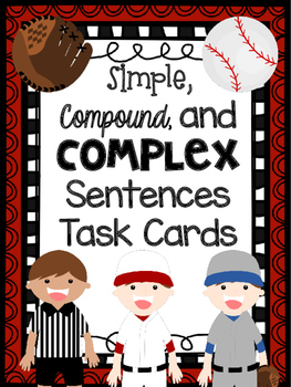 Simple, Compound, and Complex Sentences Task Cards Sports Themed