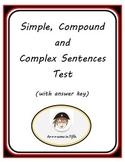 Simple, Compound and Complex Sentences Test