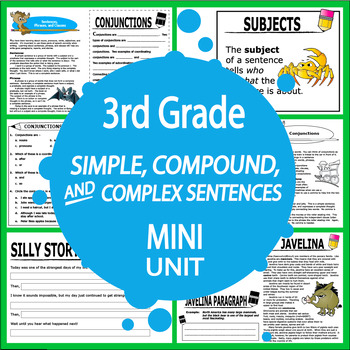 Simple, Compound, Complex Sentences Unit + TWO Writing Assignments!