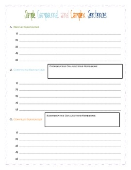 Simple, Compound, and Complex Sentences Worksheet