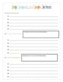 Simple, Compound, and Complex Sentences Worksheet