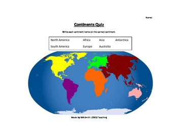 Simple Continent Quiz - 2nd Grade