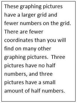 Simple Coordinate Graphing Pictures for SPED or Beginners