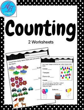 Simple Counting Worksheets.Counting Practice. Review. Math Center.  No Prep!