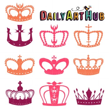 Simple Crowns Clip Art - Great for Art Class Projects!