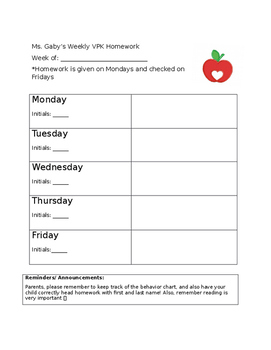 Simple Cute Homework Template