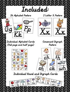 Simple D'Nealian Alphabet Posters