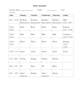 Simple Daily Schedule
