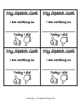 Simple Daily Speech Goal Rating Scales for Students - Minimal Prep!