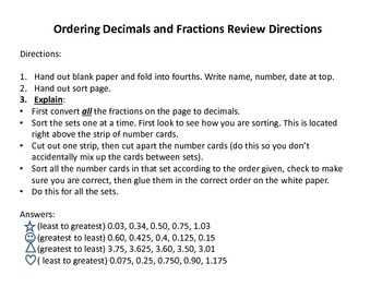 Simple Decimal and Fraction Ordering (Combined Sets)
