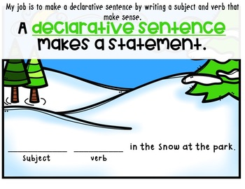 Simple Past Tense Declarative Sentences PPT and Workpages [Winter Themed]!