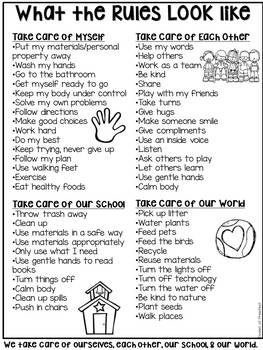 Simple Design Classroom Rules for Preschool, Pre-K, and Kindergarten