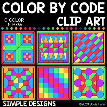 Simple Designs Color by Code Clip Art