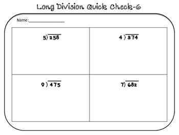 Long Division Quick Checks