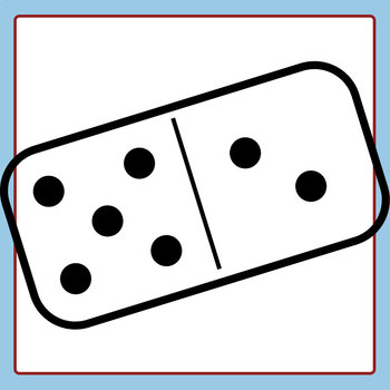 Simple Dominoes Black and White Line Art Set Clip Art Set for Commercial Use