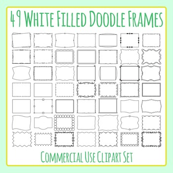 Simple Doodle White Filled Frames 49 Images Clip Art Commercial Use