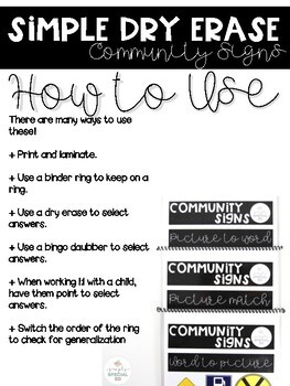 Simple Dry Erase: Community Signs for Special Education