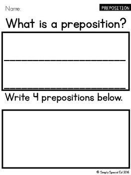 Simple ELA Workbook: Prepositions