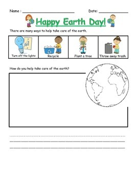 Simple Earth Day Worksheet